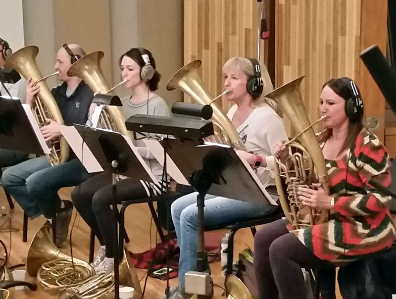 Wagner tubas in Ocean Way Studios recording session for video game score